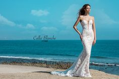 Calla Blanche wedding dress/gown- Arielle, ivory sheath style style wedding dress with lace, deep sweetheart neckline, sleeveless and strapless. For the Bride Boutique, Ft. Myers, FL
