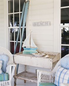 Coastal Cottage: white, light blues, vintage and wicker