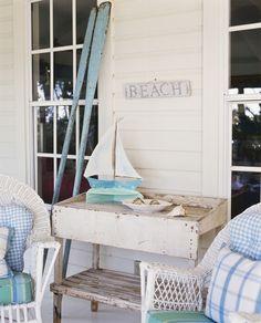 Coastal Cottage: white, light blues, vintage and wicker
