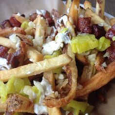 Dirty Dirty Fries with goat cheese, pork belly and pepperoncinis at Pickled Fish in Long Beach, Washington. | 23 French Fries You Need To Eat Before You Die