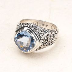 Bali Scroll: Blue Quartz Ring -- the new alternative to a class ring.  This handcrafted blue quartz ring will be proudly worn for years, unlike many class rings.  Click to order!