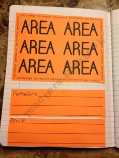 math notebook: area & perimeter