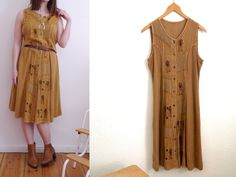 90s grungy summer dress patchwork button down sleeveless dress mustard yellow dress vintage 80s 90s  hippie festival dress Indian revival by SuitcaseInBerlin on Etsy