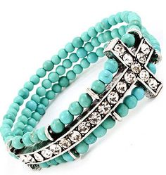 Teal Stretch Cross Braclets by eardesignz on Etsy, $10.36