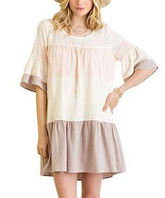 Look at this #zulilyfind! Peach Color Block Trumpet-Sleeve Shift Dress #zulilyfinds