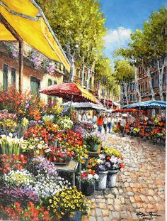 Born in 1949 in Seoul, Korea, Sung Sam Park began painting at the age of twelve. Inspired by the Impressionists, Park studied and evolved his vision of impressionism and hyper-realism to his own style Beautiful Paintings, Beautiful Landscapes, Park Art, New York Art, Flower Market, Garden Art, Landscape Paintings, Watercolor Art, Images