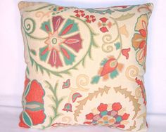 Teal Orange Floral Throw Pillow Reversible by PillowDetails