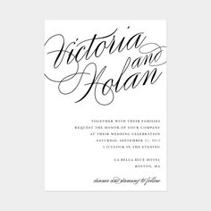 Calligraphy Wedding Invitation Only