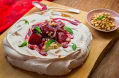 Espresso Pavlova with Poached Plums