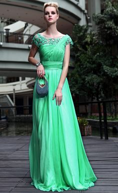 2012 Style Sheath Floor Length Chiffon Prom Gowns With Cap Sleeves 30551 USD 199.99 VPX5A51RM - VoguePromDresses