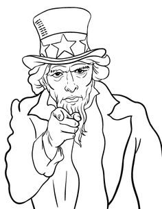 Uncle Sams Hat coloring page 4th of july Pinterest Bulletin