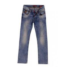 - Knoops-sluiting - modieuze heren Jeans - met 4 steekzakken  - Achter 2 zakken