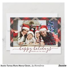 Rustic Tartan Photo Merry Christmas Navy Red White Holiday Card Happy Holidays Greetings, Merry Christmas Happy Holidays, Christmas Blessings, Christmas Photo Cards, Christmas Photos, Tartan Christmas, Tartan Pattern, Holiday Greeting Cards, Red And White