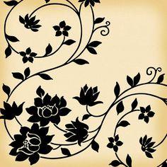 Flower and Vine Vintage Wallpaper