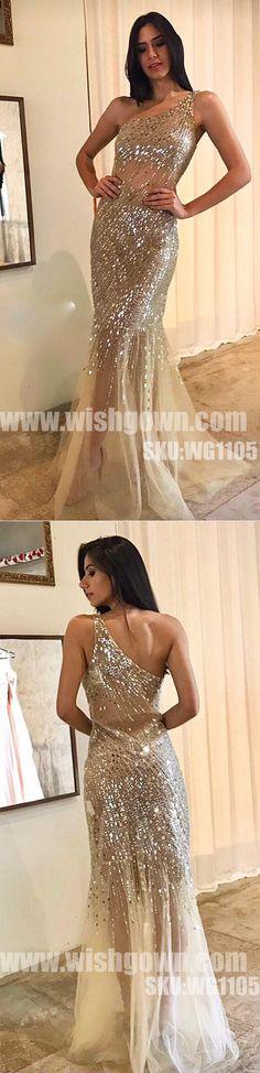 One Shoulder Shinning Beading Mermaid Sexy Long Evening Prom Dresses, WG1105 #promdress #promdresses #longpromdress #longpromdresses #eveningdress