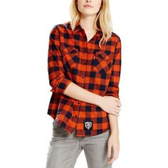 Chicago Bears Levi s Women s Barstow Western Long Sleeve Button-Up Shirt -  Orange acab16ba4