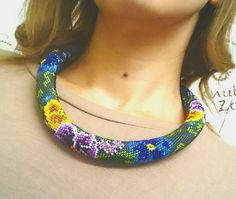 "Beaded crochet necklace ""Pansies"" by Vifslabeads on Etsy"