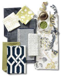 Indigocitron Room Fabric Collection. Image: Calico Corners. #fabric #furniture #interior_design #decorating #thom_filicia #robert_allen #linen_floral