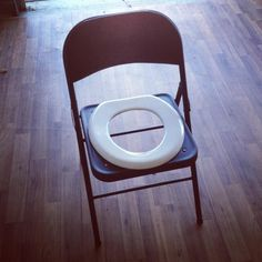 must have equipment: toilet seat folding chair