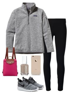"""""""Longchamp backpack"""" by helenhudson1 ❤ liked on Polyvore featuring Helmut by Helmut Lang, Patagonia, NIKE, Longchamp and Essie"""