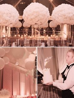 Annie! Check out the over-sized white balloons suspended by fishing wire. I LOVE this if used over and around the cake table, do you??