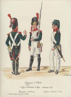Line Infantry, Hamburg 1807 Grenadiers in Grande Tenue & Fusilier Sous-Officer in Petite Tenue Kingdom Of Naples, Kingdom Of Italy, Italian Army, National History, Army Uniform, French Empire, Napoleonic Wars, French Artists, Military History