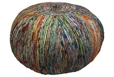 Nina Recycled Silk Pouf, White/Multi on OneKingsLane.com  source: The Perfect Pouf.  This is so unique