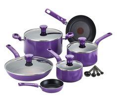 Tfal 14 set Cookware Nonstick Dishwasher Oven Safe Pan Pot Chef  Utensils Purple #Tfal