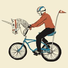 """Unicycle"" t-shirt and hoodie by wytrab8 //RedBubble. Unicorn, bicycling, retro, banana seat bike."