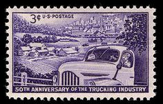 This stamp commemorates the 50th anniversary of the Trucking Industry.
