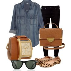 chambray shirt, leopard shoes, and carmel accents