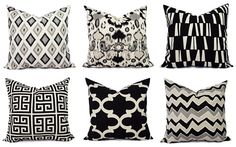 Two Black Throw Pillow Covers Black and Beige by CastawayCoveDecor