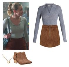 A fashion look from April 2017 featuring gray sweater, tan skirt and brown boots. Browse and shop related looks. Betty Cooper Style, Betty Cooper Aesthetic, Betty Cooper Outfits, Tv Show Outfits, Fall Outfits, Casual Outfits, Cute Outfits, Fashion Outfits, Betty Cooper Riverdale