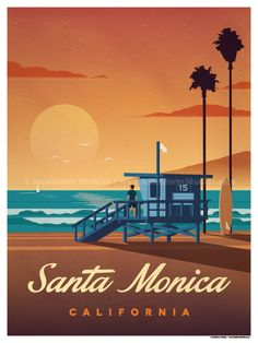 Vintage Poster Image of Santa Monica Poster - Size - Digital Print on 80 lb cover matte white Physical poster does not include Watermark. *SHIPPING DETAILS* Items will be. Posters Paris, Posters Decor, Nature Posters, Movie Posters, Poster Art, Kunst Poster, Poster Prints, Gig Poster, Poster Series