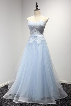 Fashion Ideas For Teens Light Blue Prom Dresses,Lace Tulle Prom Dresses,Long Prom Strapless Party Dress, Blue Party Dress, Tulle Prom Dress, Lace Evening Dresses, Ball Gown Dresses, Lace Dress, Prom Gowns, Quinceanera Dresses, Pageant Dresses