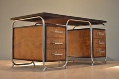 XL German Bicolored Bauhaus Desk | 20ème Siècle | DesignAddict