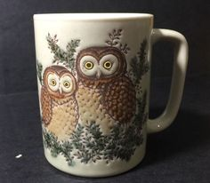 Otagiri Owl Coffee Mug Embossed 2 on Branch Vintage Unmarked