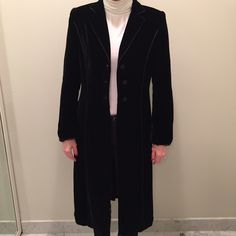 Long velvet jacket Lightweight black velvet jacket. Long and straight cut. 100% silk lining. Perfect to dress up or wear with jeans. Size 10. Excellent condition, rarely worn. Runway Jackets & Coats