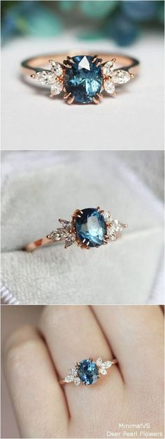 Blue Sapphire Engagement Ring blue wedding rings 10 Unique Enagement Rings from MinimalVS Morganite Engagement, Engagement Jewelry, Engagement Ring Settings, Vintage Engagement Rings, Halo Engagement, Design An Engagement Ring, Country Engagement Rings, Country Wedding Rings, Alexandrite Engagement Ring