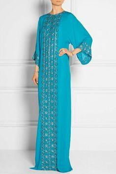 Shop for Oscar de la Renta Embellished Silk-Chiffon Gown at ShopStyle. Abaya Fashion, Muslim Fashion, Modest Fashion, Kaftan Style, Caftan Dress, African Fashion Dresses, African Dress, Arabic Dress, Moroccan Dress