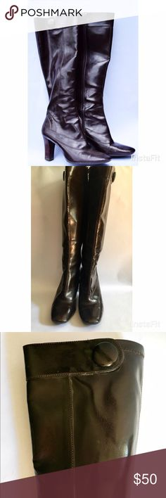 Pair of Brown Franco Sarto Leather Boots Gently used Franco Sarto brown leather boots with accent button. Has full zipper on inseam. Franco Sarto Shoes Heeled Boots
