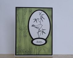handmade card: Bamboo Sorry FM by fishymom  ... luv the sponging to bring out the embossing folder texture ...