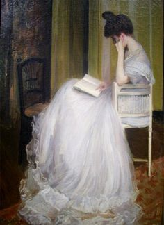 Jacques-Émile Blanche ( França 1861-1942) - I love this..dressed in a beautiful gown and sitting home reading...my kind of woman