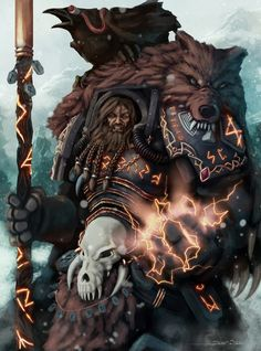 Njal Stormcaller High Runepriest of the Space Wolves Warhammer 40k Space Wolves, Warhammer 40k Art, Warhammer 40k Miniatures, Warhammer Fantasy, Fantasy Art Warrior, Wolf Artwork, Space Marine, Sci Fi Art, Looks Cool