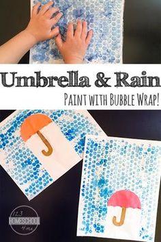 umbrella and rain bubble wrap craft - rain craft - rainy day craft - spring craft- kids craft - crafts for kids -acraftylife.com