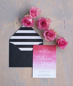 Pink ombre wedding invitation | Beautiful Watercolor Wedding Stationary by Bohemian Mint via @cleverwedding