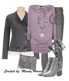 feat. Premier Designs jewelry  #pdstyle  purple ls tee, grey pants, grey ankle boots booties, grey bag, grey jacket