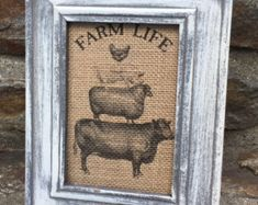 Vintage Farmhouse Inspired Burlap Farm Life Print in Rustic Distressed Frame 7 by 9