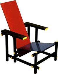1917 chaise bleu et rouge de Gerrit Rietveld