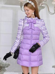 Purple Plaid Patchwork Long Down Coat-No.2